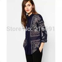2014 new fashion women elegant vintage positioning  flower printed blouse Lady casual temperament long sleeve shirt #E868