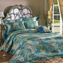 Peacock Feather Bedding Set,Peacock Blue Bedding Sets,Bohemian Duvet Covers,Silk Sheets Set,4Pcs(China (Mainland))