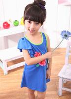 baby girls dress vest princess dress 2014 Summer new arrival children dress Print flower kids 2- 7 years D111 free shipping