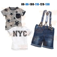 2014 new arrive boys clothes baby clothing sets 3 pcs sets t shirt +jeans  Europe and the United States hot  6sets/lot