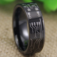 Cheap Price Free Shipping USA UK CANADA RUSSIA Hot Selling 8MM CIRCUIT BOARD Design Black Pipe Men's Lord Tungsten Wedding Ring