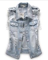 2014 spring and summer fashion street lace patchwork denim vest distrressed kaross denim outerwear female jacket