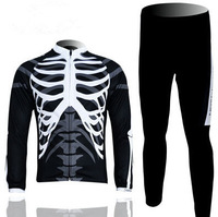 2014 Mountain Bike Long Sleeve Cycle Clothing Set Bicycle SKull Cycling Pants Jersey Men Bicicleta Ropa Ciclismo Fitness Clothes