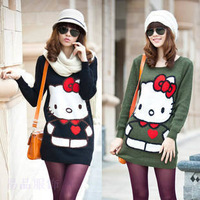 hello kitty sweater 2014 new arrival women sweater pullover long sleeve solid knitted pullover sweater coat free shipping