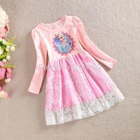 2T-7T Fashion Girls Casual Daily Dress Long Sleeve  Elsa Beautiful Dress Halloween Party Child Princess Dress Clothing