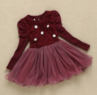Autumn Girls Wine Red Lace Princess Dresses Kids Long-sleeved Dress With Flower  5pieces/lot Free Shipping