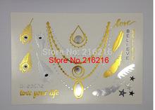 Gold Silver Metalic Temporary Tattoos Shinning Flash Tattoo(China (Mainland))