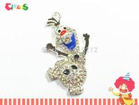 Newest !!10pcs/lot   50mm*30mm  Snowman Rhinestone Pendants For Chunky Kids Necklace Making