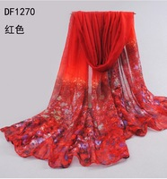 Min Order $15(mixed order)  New 2014 fashion women  Bohemian Style  Flowers voile gradient  scarf  shawl