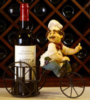 Funny Chef on Tricycle Sculpture Wine Holder Resin and Iron Art Decoration Craft for Festival Embellishment and Birthday Gift