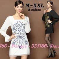 M-XXL Brand Ladies Royal Embroidery Pleated Lantern Sleeve Pencil Dresses 2014 Autumn Fashion Plus Size Women Clothing 13216