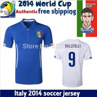 CHIELLINI MARCHISIO BALOTELLI PIRLO Italy Jersey 2014 World Cup Home Blue Italia Azzurri Jersey di Calcio Camisa Futebol T Shirt