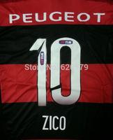 2014 Flemish Home Black Red Stripe Jersey A+++ Thailand Quality Flamengo 14 15 Futbol Soccer Jersey wear Football Uniform Shirt