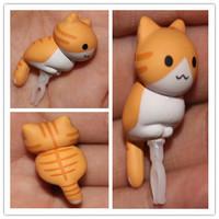 wholesale 200pcs /lot new 2015 new kpop shinee Sweet cheese  grey cat Persian cat Animated cartoon dust plug cellphone dust cap