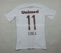 CONCA #11 2014 Club Fluminense Home White Football Soccer Jersey 3A+++Top Thailand Futbol Shirt futebol camisa uniform men wear
