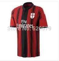 3A+++ 2015 AC milan Jersey soccer thailand quality AC milan BALOTELLI 45 14 15 football shirt can custom KAKA jersey