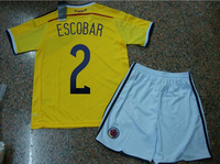 A+++ Top Kids Thai Suit 9# Falcao Jersey Boy Kid Kit 2014 Colombia Yellow Soccer Kits Futbol Football Shorts