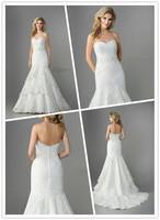 Precious Sweetheart Neckline Tiered A-line Floor length Chapel train Drop Waist Beaded Alencon Lace and Organza Wedding Dress