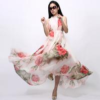 New 2014 women Elegant Print Chiffon one-piece long Dress Suspender Ruffle Ultra large Full Dress LS519