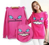 2014 women Colored Zipper Smile Mouth Shoulder 3D Ear Cat Front Jumper hoodies Long Sleeve Fleece SweartShirt Top 7 Color LS534