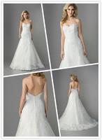 Princess A-line Floor length Court train Sweetheart Neckline Beaded Lace on Tulle Bridal Wedding Dress