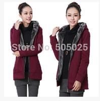 Free drop shipping new women's winter thick wool liner plush velvet long hooded casual cardigan sweatshirts jacket M-4XL