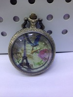 Vintage hotsale BF009 D4.5cm antique Paris pocket watch with chain FREE SHIPPING