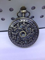 Vintage hotsale BF030 D4.5cm antique flower pocket watch with chain FREE SHIPPING