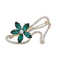 Fashion Women Rhinestone Green Flower High Heel Shoe Brooch Pins,Free shipping