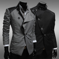 New 2014 Autumn And Winter Men Suit Jacket Fashion Casual Slim irregular placket Men Brand Pure Color Suit Jacket Free Shipping