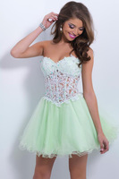 2014 Style A-line Sweetheart  Applique  Short / Mini  Tulle  Homecoming Dresses / Cocktail Dresses Free Shipping (XZ03014)