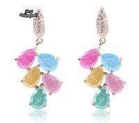 Colorful Zircon Dangle Earring Women Fashion Long Drop Earring ZC075ER