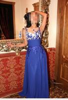 Hot Sale Ocean Blue Gown Women Fancy Dress Evening Dress Elegant Gorgeous Full Dress Beautiful Dress Skirt