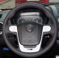 Black Genuine Leather Steering Wheel Cover for Morris Garages MG3 Car Special Hand-stitched Black Genuine Leather Covers
