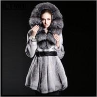 2014 NEW WOMEN DRESS MINK FUR COAT WITH BIG COLLAR HOODED MINK FUR SKIRT WOMAN OVERCOAT WOMEN'S COAT