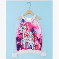 Fashion Tie Dye T-shirt  2014 Gauze Patchwork Girls Blouse Galaxy Unicorn Printed Transparent Sleeve Shirt  Hoodies For Women