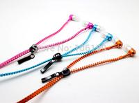1lot=10pcs 3.5MM Metal Zipper Earphones colorful Headphones with microphone voice controller high quality Sale hot!!!