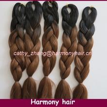 Frete grátis !!! ( 10pcs / lot ) dobrado cabelo sintético comprimento 20 polegadas extra longa 100 kanekalon ombre trança jumbo Black & Brown(China (Mainland))