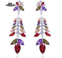 Colorful Leaf Fashion Zircon Earring Long Dangle Earring chandelier earrings for Women ZC091ER