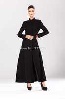 Hot 2014 Women winter woolen coat Long Slim put on a large collar warm coat was thin plus size black woman coats S-XL