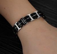 Shiny Jewelry 316L Silver Stainless Steel Black Genuine Silicone Watch Belt Bracelet Boy Men's Cuff Bangle Top Quality