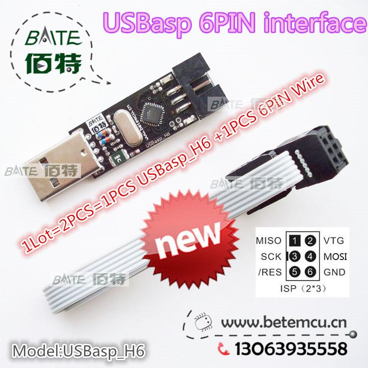 1PCS USBasp_H6 USB ISP 5V AVR Programmer USB ATMEGA8 ATMEGA128 New +1PCS 6PIN Wire Support Win7 64Bit(China (Mainland))