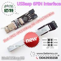 1PCS USBasp_H6 USB ISP 5V AVR Programmer USB ATMEGA8 ATMEGA128 New +1PCS 6PIN Wire Support Win7 64Bit