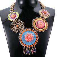 Free Shipping Factory Price Ethnic Mulitcolor Big Flower Choker Bib Collar Necklace Women Statement Bohemia Shourouk Necklace