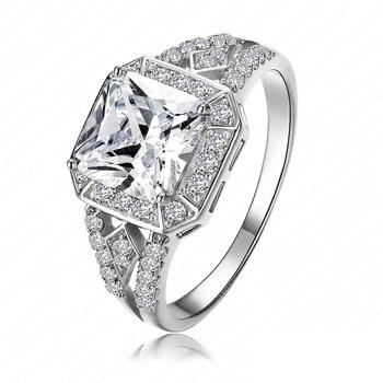 2015 новое поступление площадь кольцо платина покрыли / 18 К позолоченные ясно ааа ...