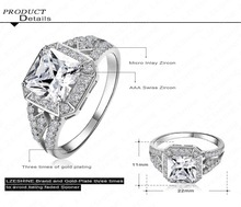 2015 New Arrival Square Ring Platinum Plated 18K Gold Plated Clear AAA Swiss Cubic Zirconia Inlayed