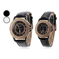Pair of PU Analog Quartz Couple's Wrist Watch (Assorted Colors)