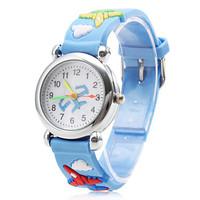 Children's Airplane Pattern Blue Silicone Band Quartz Analog Wrist Watch