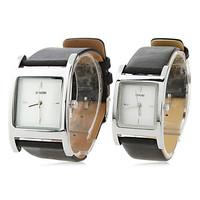 Pair of PU Analog Quartz Wrist Watches (Black)