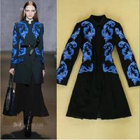 Top Quality New Fashion Winter Outerwear 2014 Women Retro Porcelain Embroidery Long Sleeve Warm Woolen Coat Outwear Black XXL